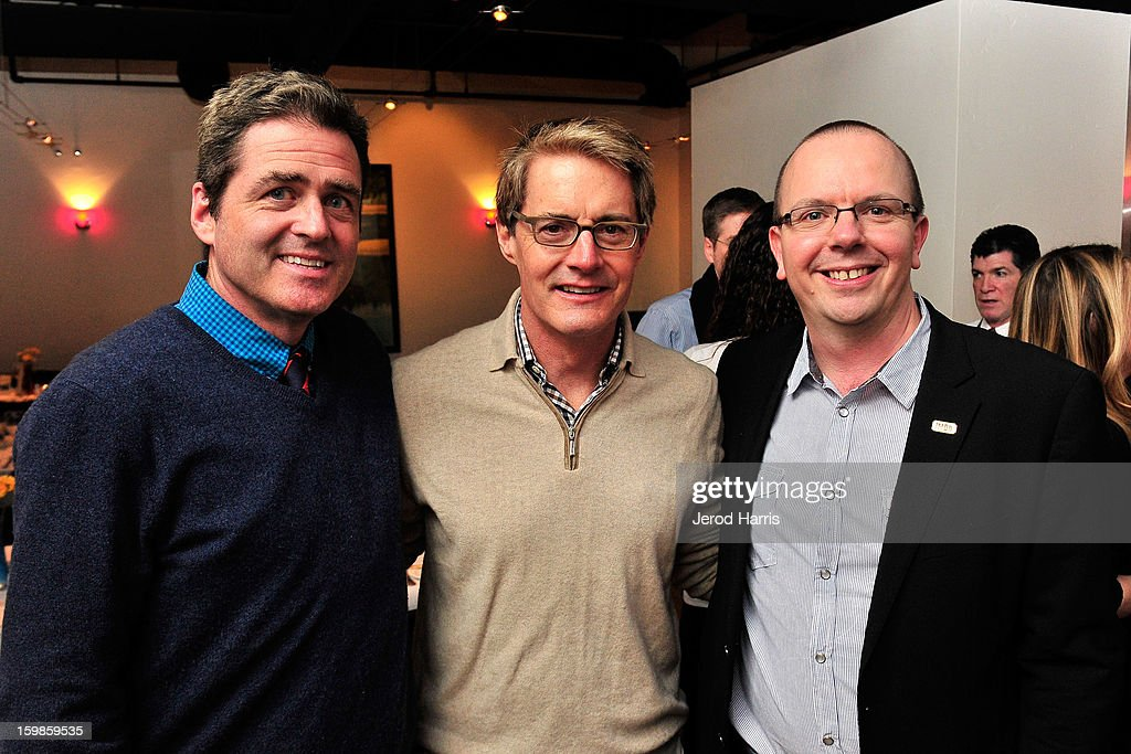 Co-president of Film Independant Josh Welsh, actor <a gi-track='captionPersonalityLinkClicked' href=/galleries/search?phrase=Kyle+MacLachlan&family=editorial&specificpeople=213038 ng-click='$event.stopPropagation()'>Kyle MacLachlan</a>, and IMDb founder Col Needham attend the IMDb Sundance dinner party at The Mustang on January 21, 2013 in Park City, Utah.