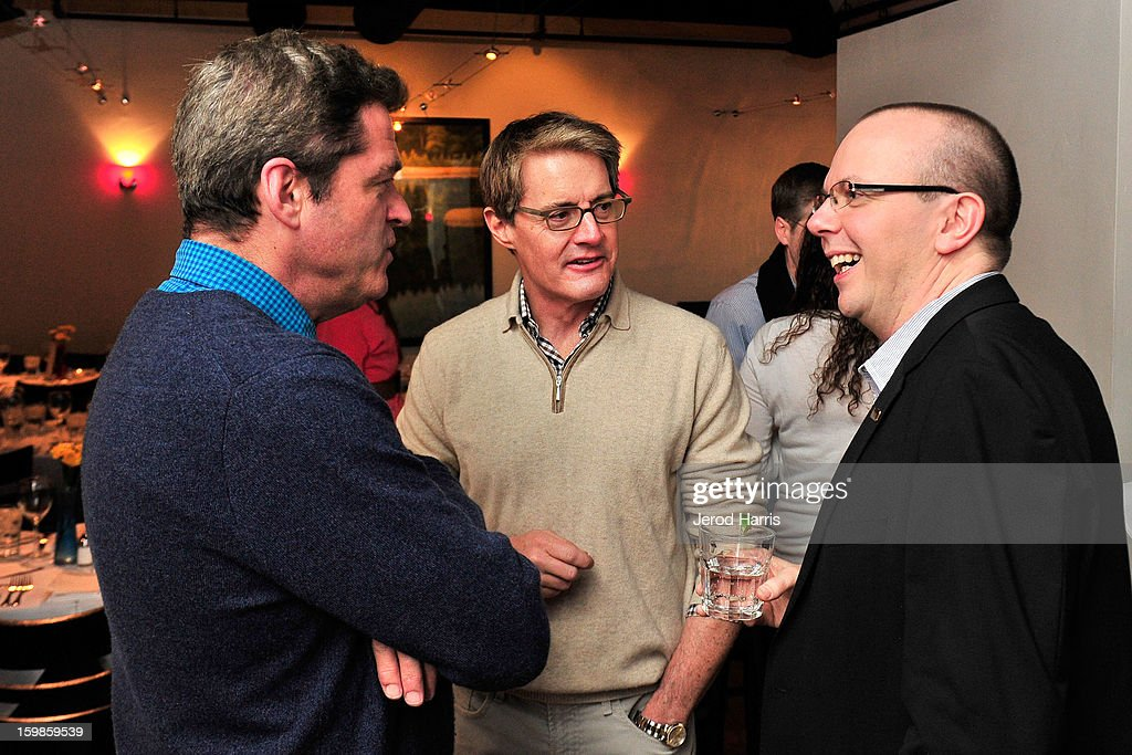 Co-president of Film Independant Josh Welsh, actor <a gi-track='captionPersonalityLinkClicked' href=/galleries/search?phrase=Kyle+MacLachlan&family=editorial&specificpeople=213038 ng-click='$event.stopPropagation()'>Kyle MacLachlan</a> and IMDb founder Col Needham attend the IMDb Sundance dinner party at The Mustang on January 21, 2013 in Park City, Utah.