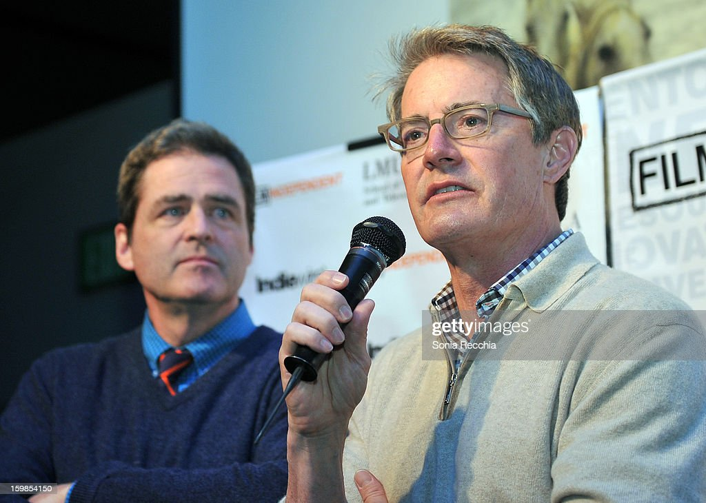 Co-President of Film Independent Josh Welsh and actor <a gi-track='captionPersonalityLinkClicked' href=/galleries/search?phrase=Kyle+MacLachlan&family=editorial&specificpeople=213038 ng-click='$event.stopPropagation()'>Kyle MacLachlan</a> speak onstage during the Film Independent Sundance Reception at Riverhorse Cafe during the 2013 Sundance Film Festival on January 21, 2013 in Park City, Utah.