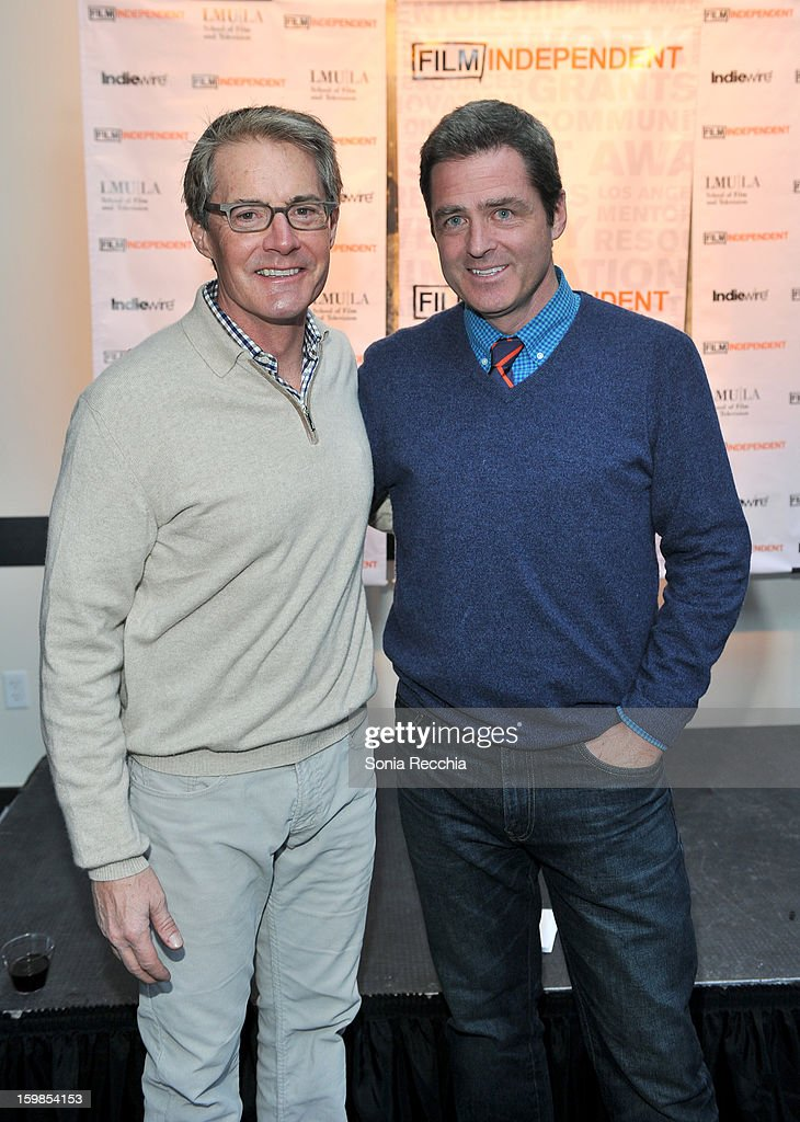 Co-President of Film Independent Josh Welsh (R) and actor <a gi-track='captionPersonalityLinkClicked' href=/galleries/search?phrase=Kyle+MacLachlan&family=editorial&specificpeople=213038 ng-click='$event.stopPropagation()'>Kyle MacLachlan</a> attend the Film Independent Sundance Reception at Riverhorse Cafe during the 2013 Sundance Film Festival on January 21, 2013 in Park City, Utah.