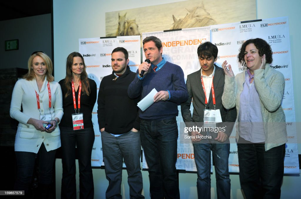 Co-President of Film Independent Josh Welsh (C) speaks onstage during the Film Independent Sundance Reception at Riverhorse Cafe during the 2013 Sundance Film Festival on January 21, 2013 in Park City, Utah.