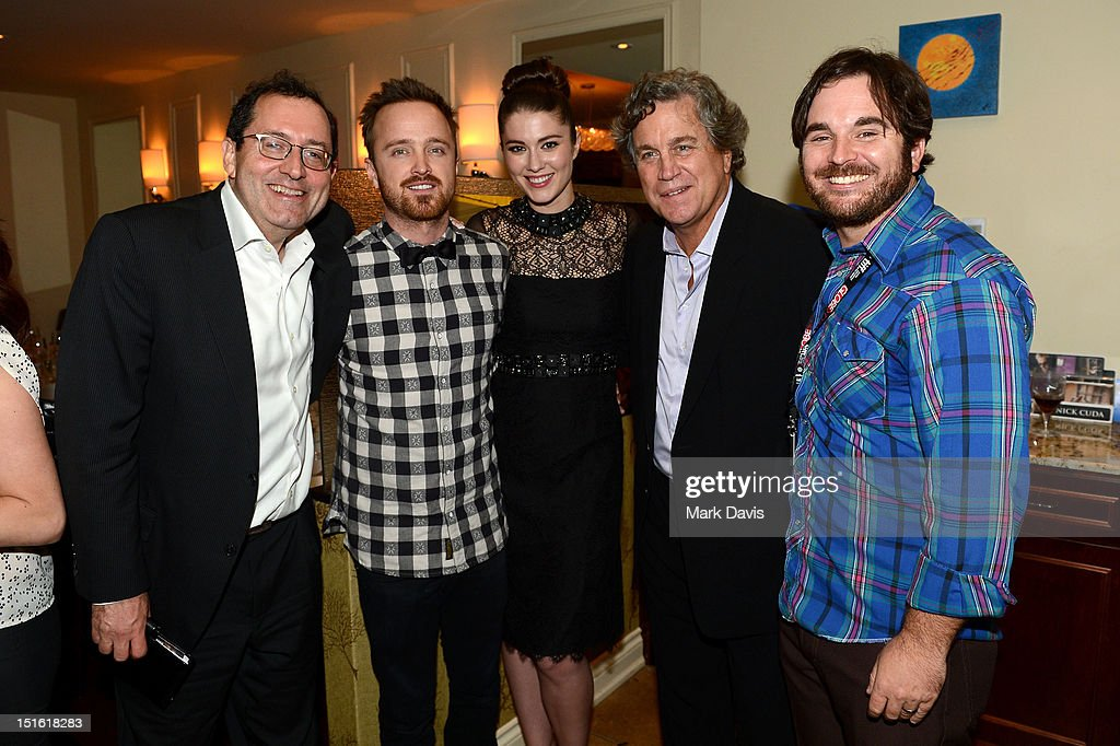 Co-President of Sony Pictures Classics Michael Barker, actor Aaron Paul, actress Mary Elizabeth Winstead, Co-President of Sony Pictures Classics Tom Bernard, and Director James Ponsoldt attend the Sony Pictures cocktail hour during the 2012 Toronto International Film Festival at the Creme Brasserie on September 8, 2012 in Toronto, Canada.