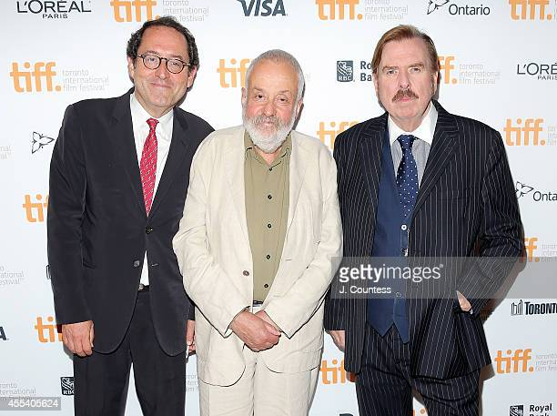 CoPresident of Sony Pictures Classics Michael Barker director Mike Leigh and actor Timothy Spall attend the 'Mr Turner' Premiere during 2014 Toronto...