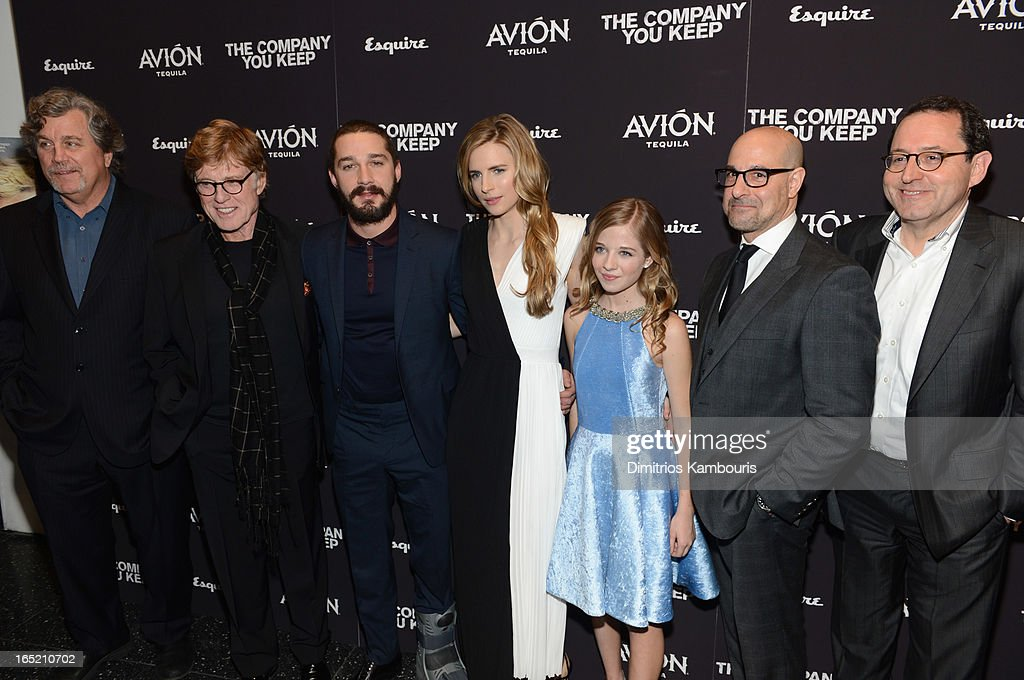 Co-President of Sony Pictures Classics Tom Bernard, director\actor Robert Redford, Shia LaBeouf, Brit Marling, Jackie Evancho ,Stanley Tucci and Co-President of Sony Pictures Classics Michael Barker attend 'The Company You Keep' New York Premiere at MOMA on April 1, 2013 in New York City.