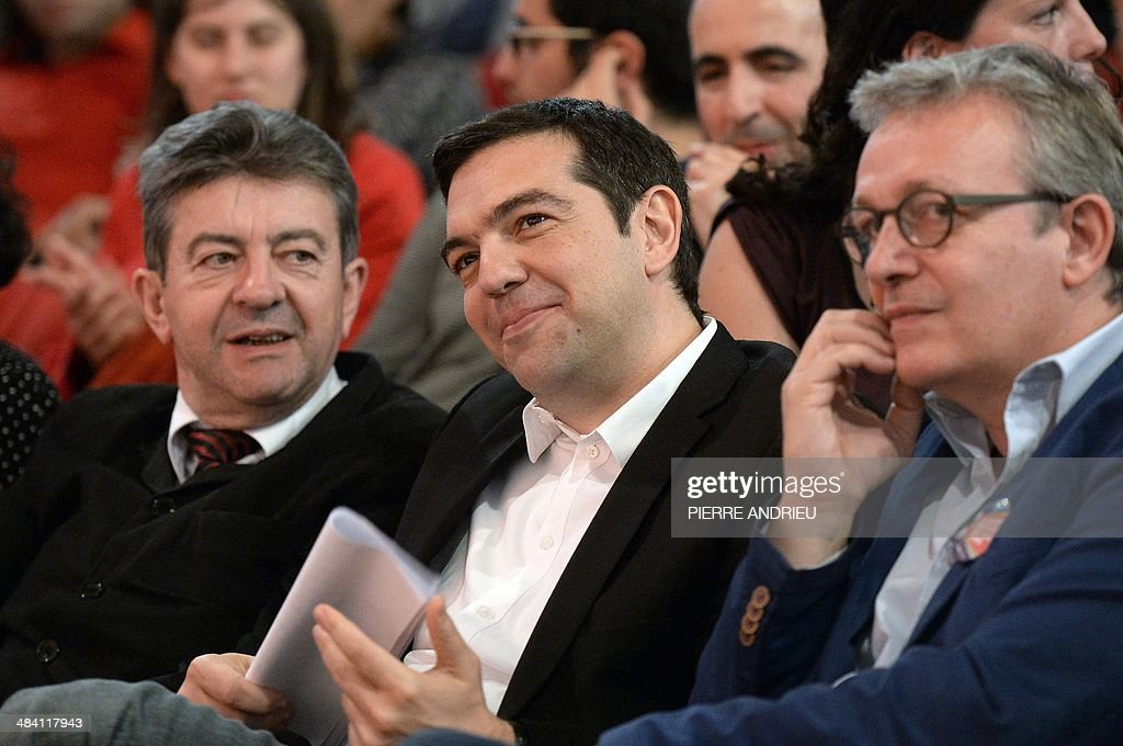 Co-President of the French Left Front party (PG) Jean-Luc Melenchon, Greece's Syriza main opposition (radical leftist) party leader Alexis Tsipras and French Communist Party National Secretary Pierre Laurent (R) listen in Saint-Denis, a Paris suburb, on April 11, 2014, during a campaign meeting of the Front de Gauche (PG and PC, French communist party) six weeks ahead of the European elections. Tsipras is one of the main candidates for the presidency of the European Parliament.