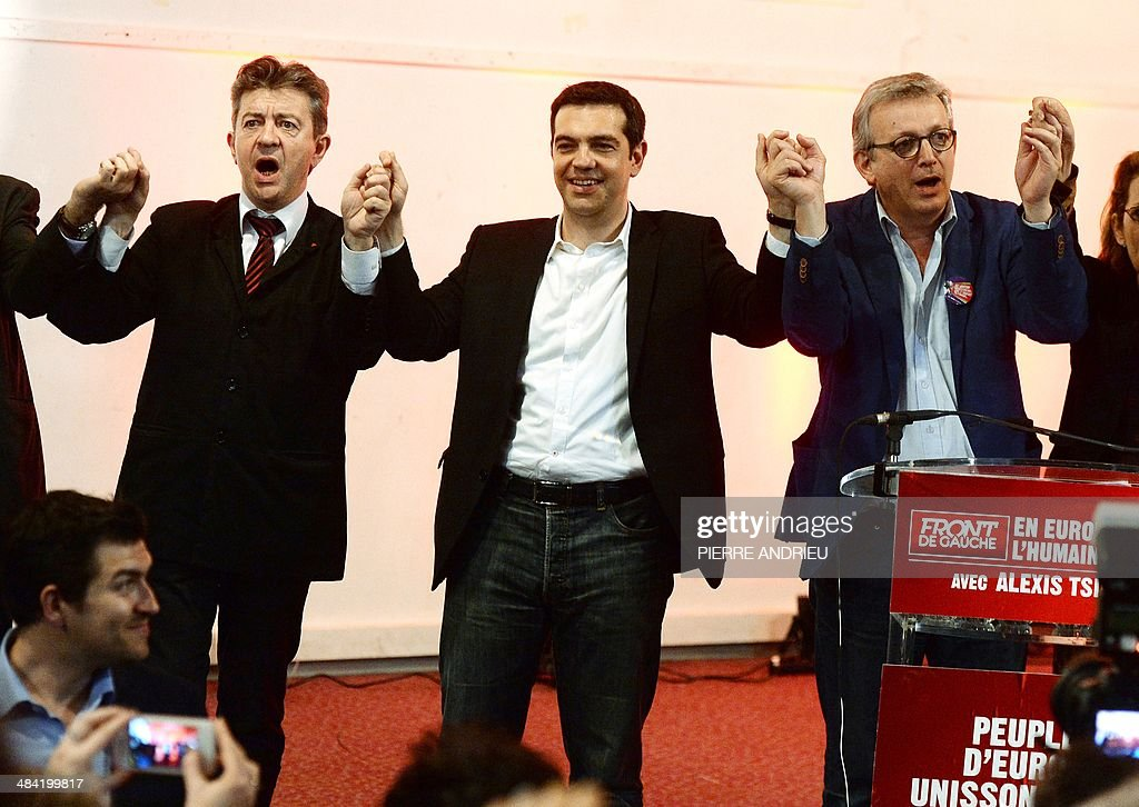 Co-President of the French Left Front party (PG) Jean-Luc Melenchon, Greece's Syriza main opposition (radical leftist) party leader Alexis Tsipras and French Communist Party National Secretary Pierre Laurent (R) take part in Saint-Denis, a Paris suburb, on April 11, 2014, to a campaign meeting of the Front de Gauche (PG and PC, French communist party) six weeks ahead of the European elections. Tsipras is one of the main candidates for the presidency of the European Parliament. AFP PHOTO / PIERRE ANDRIEU