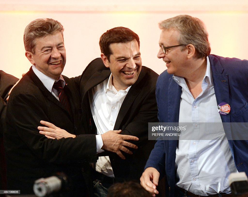 Co-President of the French Left Front party (PG) Jean-Luc Melenchon, Greece's Syriza main opposition (radical leftist) party leader Alexis Tsipras and French Communist Party National Secretary Pierre Laurent (R) take part in Saint-Denis, a Paris suburb, on April 11, 2014, to a campaign meeting of the Front de Gauche (PG and PC, French communist party) six weeks ahead of the European elections. Tsipras is one of the main candidates for the presidency of the European Parliament.