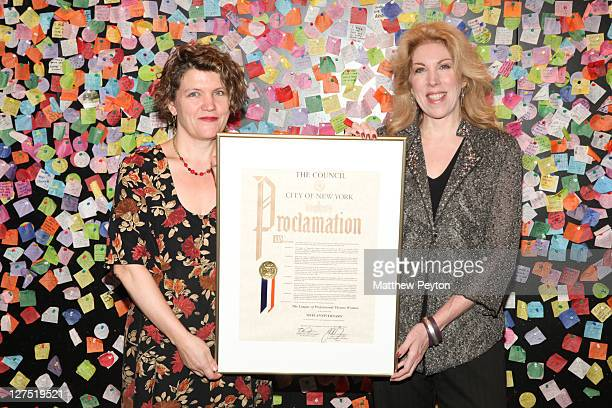 Copresidents Kristin Marting and Lorca Peress pose with Mayoral Proclamation during the League of Professional Theatre Women 30th Anniversary with...