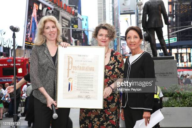 Copresidents Kristin Marting and Lorca Peress receive Mayoral Proclamation from producer Joan Firestone during the League of Professional Theatre...