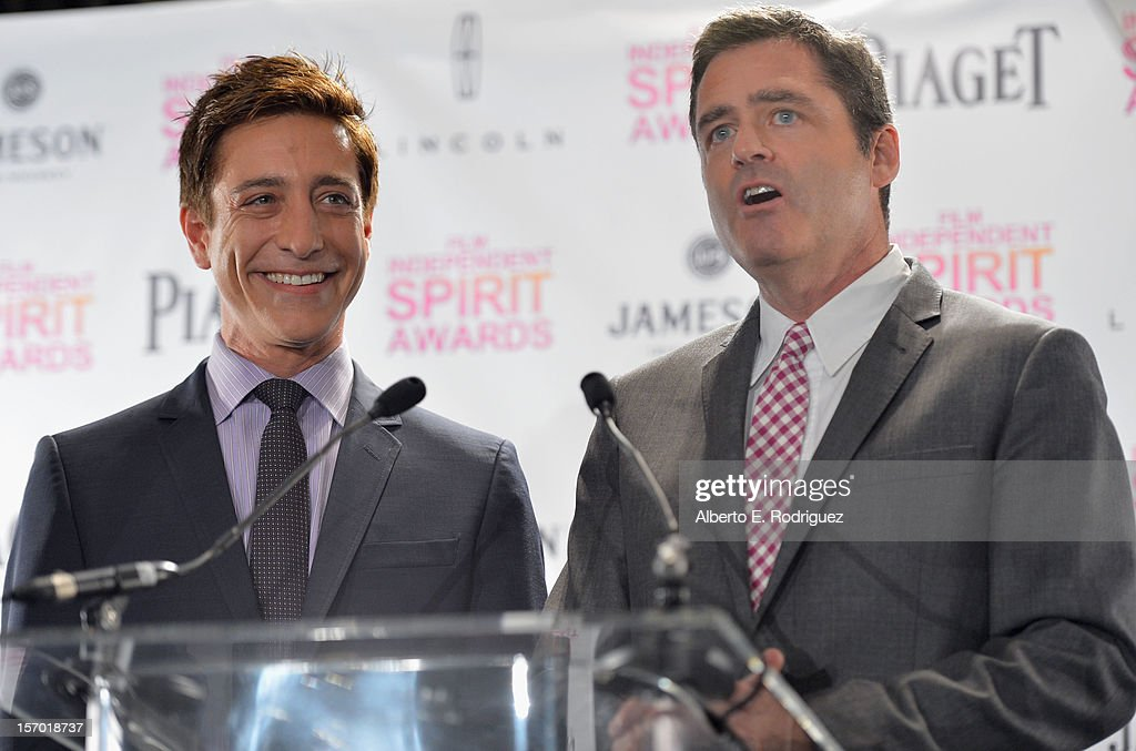 CoPresidents of Film Independent Sean McManus and Josh Welsh speak onstage at the 2013 Film Independent Spirit Awards Nominations Announcement at W...