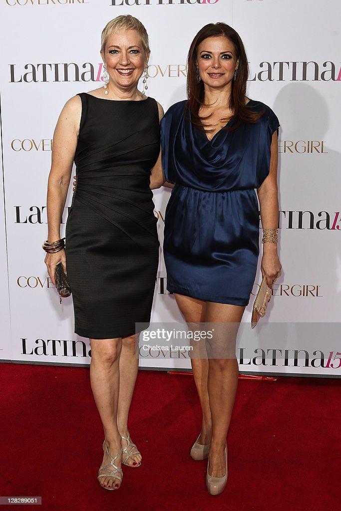 Co-Presidents of Latina Magazine Lauren Michaels (L) and Latina Magazine editorial director Galina Espinoza (R) attend the celebration of Latina Magazine's 15th anniversary at The Globe Theatre on October 5, 2011 in Universal City, California.