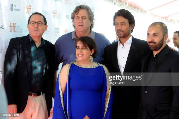 CoPresidents of Sony Pictures Classics Michael Barker and Tom Bernard producer Guneet Monga actor Irrfan Khan and director Ritesh Batra arrive at the...
