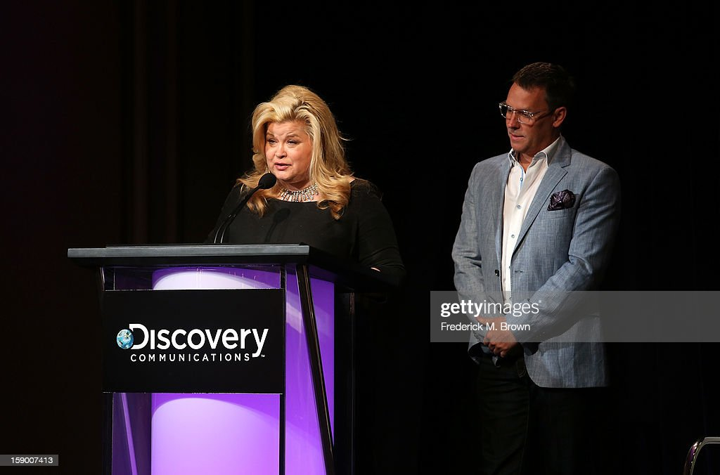 Oprah Winfrey Network, Sheri Salata (L) and Erik Logan speak onstage during the OWN portion of the 2013 Winter TCA Tour- Day 2 at Langham Hotel on January 5, 2013 in Pasadena, California.
