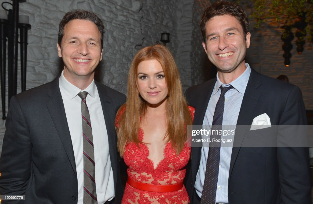 Co-Presidents RADiUS-TWC Tom Quinn and Jason Janego with actress <a gi-track='captionPersonalityLinkClicked' href=/galleries/search?phrase=Isla+Fisher&family=editorial&specificpeople=220257 ng-click='$event.stopPropagation()'>Isla Fisher</a> (C) attend the after party for the premiere of RADiUS-TWC's 'Bachelorette' at The ArcLight Cinemas on August 23, 2012 in Hollywood, California.
