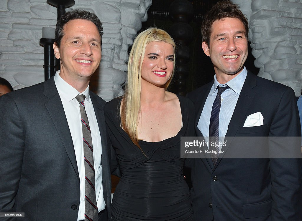 Co-Presidents RADiUS-TWC Tom Quinn and Jason Janego with writer/director Leslye Headland (C) attend the after party for the premiere of RADiUS-TWC's 'Bachelorette' at The ArcLight Cinemas on August 23, 2012 in Hollywood, California.