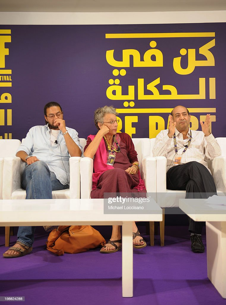 Co-Producer Mohamed Soliman (L) and director Tahini Rached of a 'A Deep Long Breath' attends the Arab Feature Film Press Conference at the Al Mirqab Hotel during the 2012 Doha Tribeca Film Festival on November 22, 2012 in Doha, Qatar.