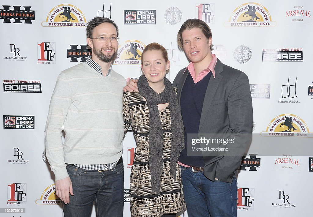 Co-Producer Ryan Young, production designer Marie Lynn Wagner and actor/producer Alexander Cendese attend the opening night party for the 2013 First Time Fest at The Players Club on March 1, 2013 in New York City.