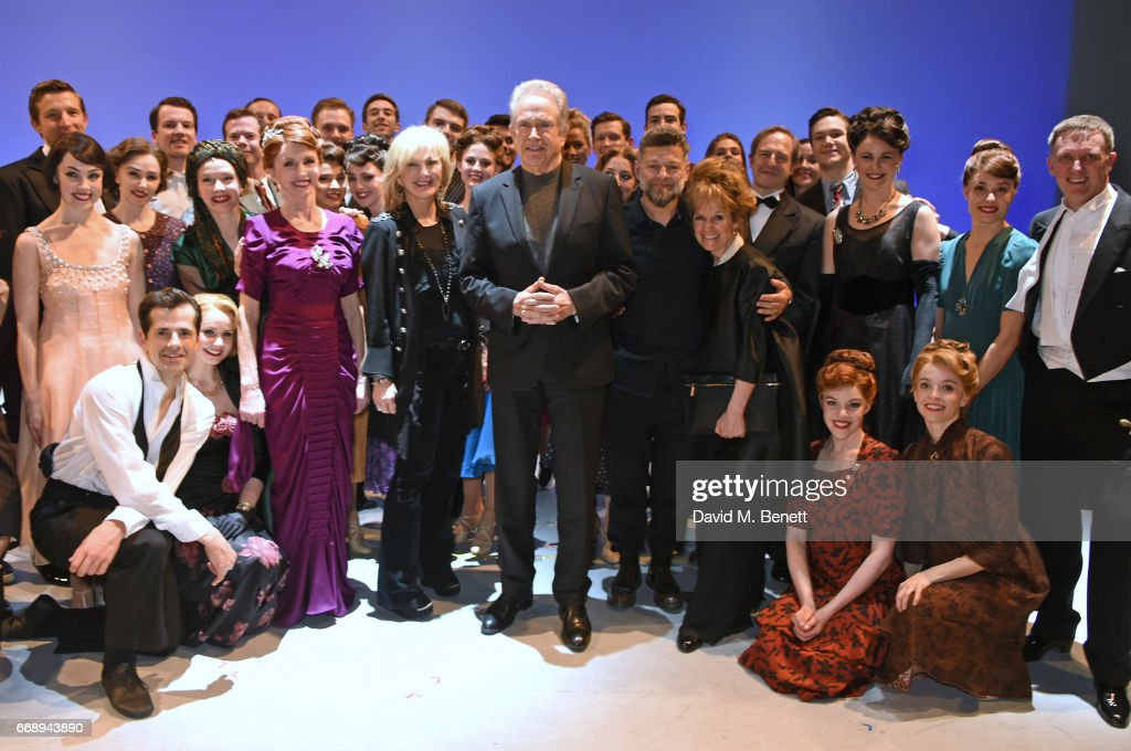 Co-Producer Sybil Robson Orr, Warren Beatty, Andy Serkis and Lorraine Ashbourne pose backstage with cast members including Robert Fairchild, Zoe Rainey, Jane Asher, Leanne Cope, David Seadon-Young, Haydn Oakley and others of the West End production of 'An American In Paris' at the Dominion Theatre on April 15, 2017 in London, England.