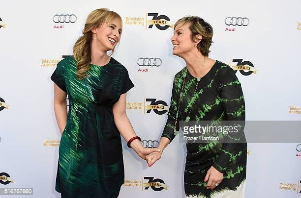Coproducer Zackary Drucker and actress Melora Hardin attend the Television Academy's 'Transparent Anatomy Of An Episode' at The Theatre at Ace Hotel...