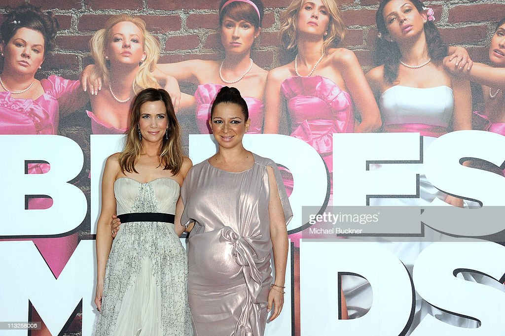 Co-producer/writer/actress Kristen Wiig and actress Maya Rudolph arrive at the Premiere of Universal Pictures' 'Bridesmaids' at the Mann Village Theatre on April 28, 2011 in Westwood, California.