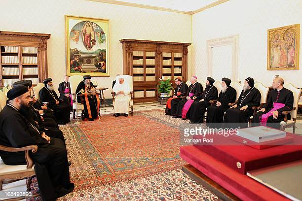 Coptic Orthodox Pope Tawadros II of Alexandria Egypt and other leaders of the Coptic Church meet with Pope Francis at his private library on May 10...