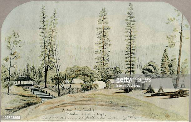 Copy of a pencil and watercolor painting of Sutter's sawmill by William Rich Hutton Coloma California April 1849 Notes handwritten on the painting...
