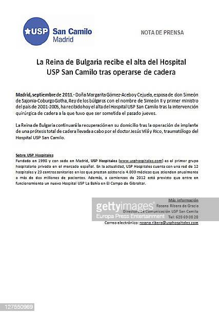 A copy of a Press Release supplied by San Camilo hospital after Margarita Gomez Acebo's hip operation on September 28 2011 in Madrid Spain