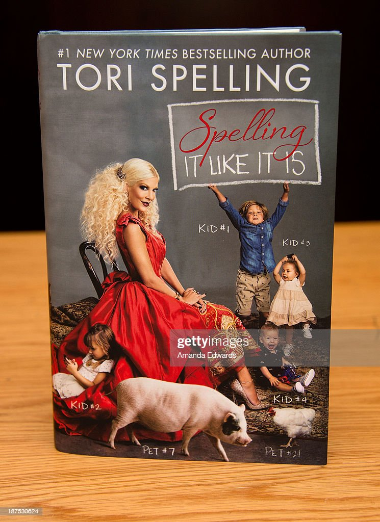 A copy of actress Tori Spelling's new book 'Spelling It Like It Is' is displayed at Barnes & Noble bookstore at The Grove on November 9, 2013 in Los Angeles, California.