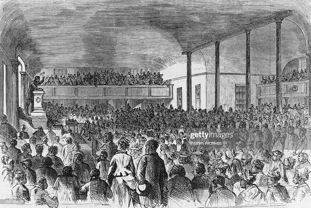 Copy of an illustration showing an interior view of the crowds attending a service at the First African Baptist church in Richmond Virginia 1874