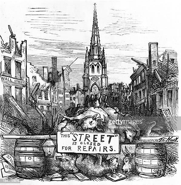 Copy of an illustration showing the ruins of Wall Street after Black Friday with a sign that reads 'This 'street' is closed for repairs' after the...
