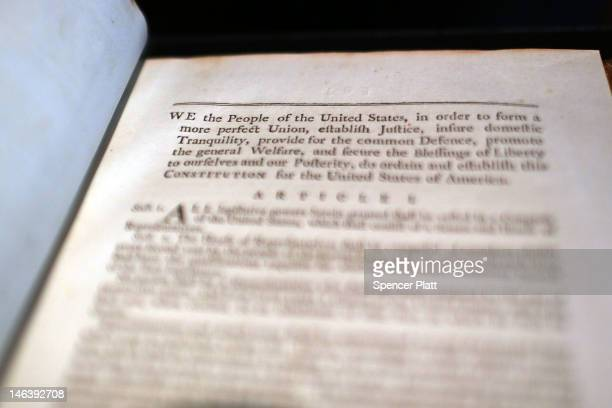 A copy of former President George Washington's personal copy of the Constitution and Bill of Rights is displayed at Christie's auction house on June...