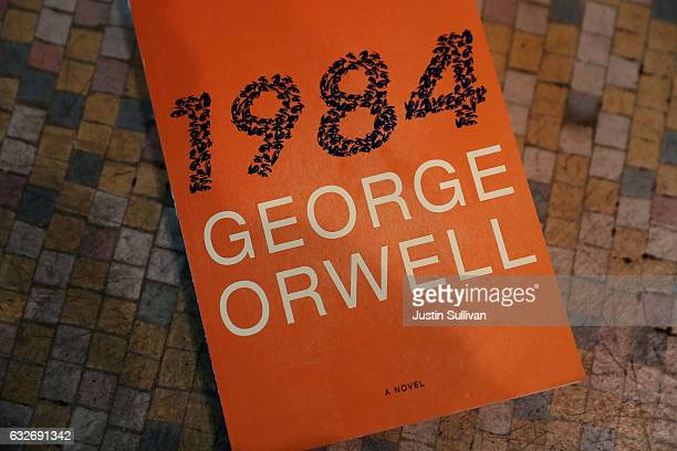 A copy of George Orwell's novel '1984' is displayed at The Last Bookstore on January 25 2017 in Los Angeles California George Orwell's 68 yearold...