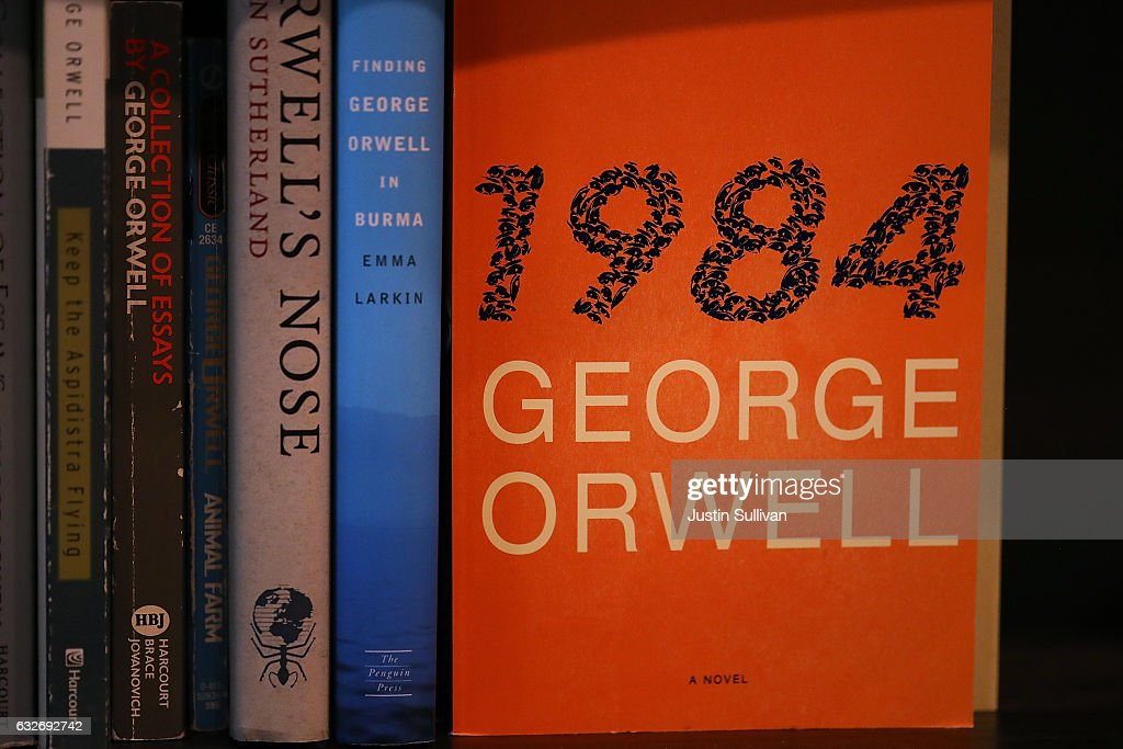 A copy of George Orwell's novel '1984' is displayed at The Last Bookstore on January 25, 2017 in Los Angeles, California. George Orwell's 68 year-old dystopian novel '1984' has surged to the top of Amazon.com's best seller list and its publisher Penguin has put in an order for 75,000 reprints.