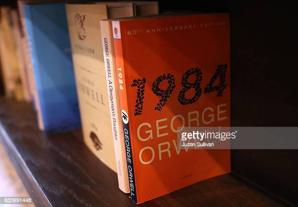 A copy of George Orwell's novel '1984' sits on a shelf at The Last Bookstore on January 25 2017 in Los Angeles California George Orwell's 68 yearold...
