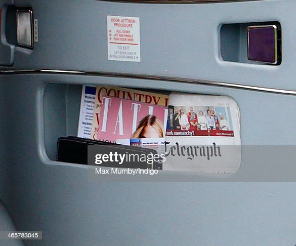 A copy of Tatler Magazine, Country Life Magazine and The Daily Telegraph Newpaper seen in the door compartment of a Sikorsky Helicopter of The Queen's Helicopter Flight on which Prince Charles, Prince of Wales and Camilla, Duchess of Cornwall arrived for a visit to The Bell pub during a day of engagements in Essex on January 29, 2014 in Purleigh, England.