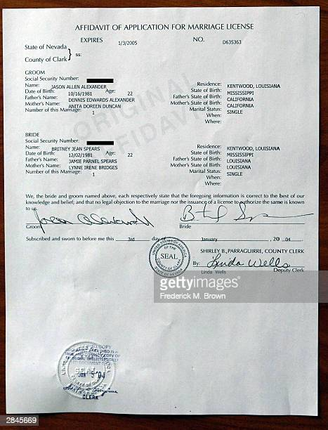 A copy of the affidavit of application for marriage license for recording artist Britney Spears and Jason Allen Alexander is seen on file at the...