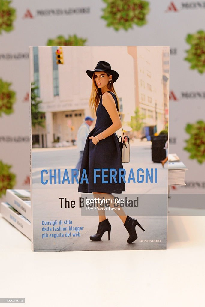 A copy of the book 'The Blonde Salad' by fashion blogger <a gi-track='captionPersonalityLinkClicked' href=/galleries/search?phrase=Chiara+Ferragni&family=editorial&specificpeople=6755910 ng-click='$event.stopPropagation()'>Chiara Ferragni</a> is displayed during a signing session by the author at Mondadori on December 5, 2013 in Milan, Italy.