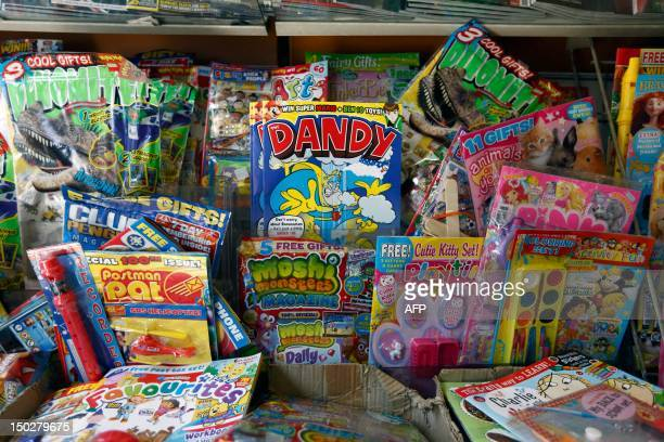 A copy of the children's comic The Dandy is pictured on the shelf of a news agent in central London on August 14 2012 Publishers DC Thompson based in...