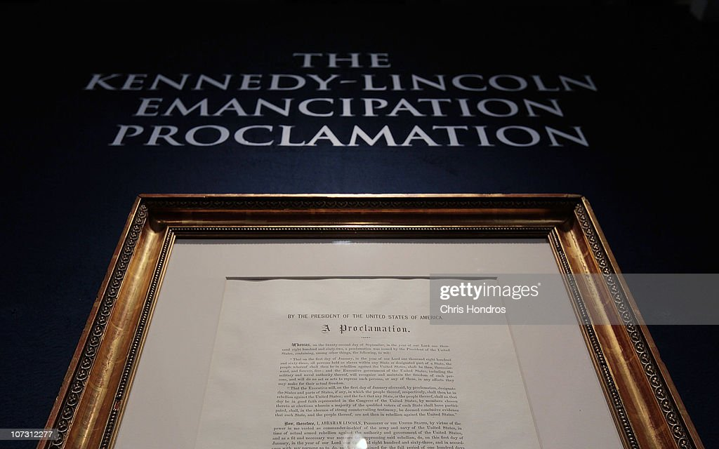 A copy of the Emancipation Proclamation owned by American statesman and politician Robert Kennedy is seen at Sotheby's auction house December 3, 2010 in New York City. The document, one of only 25 copies in existance of Abraham Lincoln's historic edict that freed American slaves, is estimated to be worth more than a million dollars.