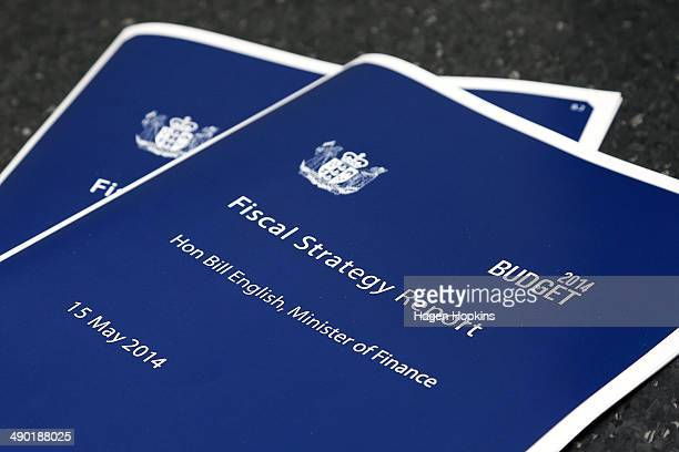 A copy of the Fiscal Strategy Report on display during the printing of the budget at Printlink on May 14 2014 in Wellington New Zealand English will...