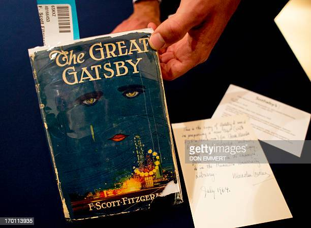 A copy of 'The Great Gatsby' by F Scott Fitzgerald is displayed June 6 2013 at Sotheby's in New York The item is part of the 'Fine Books and...