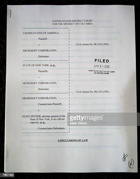 A copy of the judges conclusions on Microsoft shown here at the Justice Department April 3 2000 US District Judge Thomas Penfield Jackson ruled April...