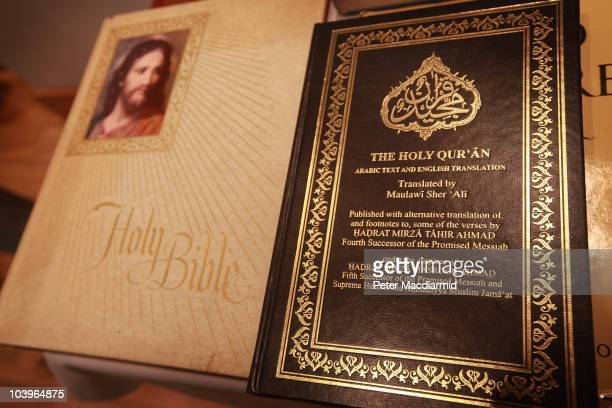 A copy of the Koran is displayed with a bible in the library of the Baitul Futuh Mosque in Morden on September 10 2010 south of London England...
