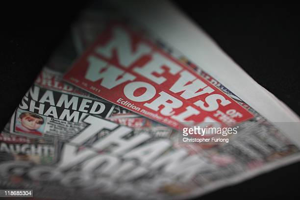 A copy of the lastever News of The World newspaper is for sale at a newsagents in central Manchester on July 10 2011 in Manchester England Five...