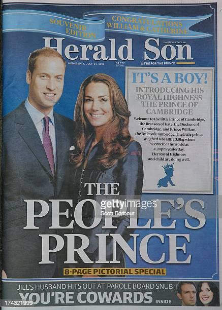 A copy of the local Melbourne newspaper 'The Herald Sun' showing the reaction to the birth of the Duke And Duchess Of Cambridge's new son on July 24...