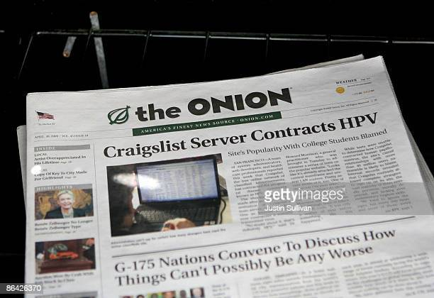 A copy of the Onion is seen in a news rack May 5 2009 in San Francisco California Satirical newspaper the Onion is ceasing publication in Los Angeles...