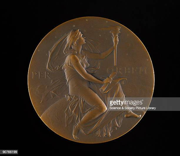 Copy of the Thomas George Hodgkins Medal of the Smithsonian Institution USA awarded to British physicist Joseph John Thomson in 1902 The design shows...