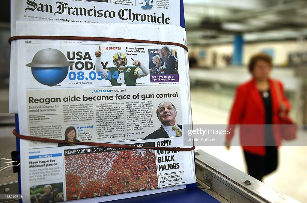 A copy of USA Today is displayed at a newsstand on August 5 2014 in San Francisco California USA Today owner Gannett Company announced plans to spin...