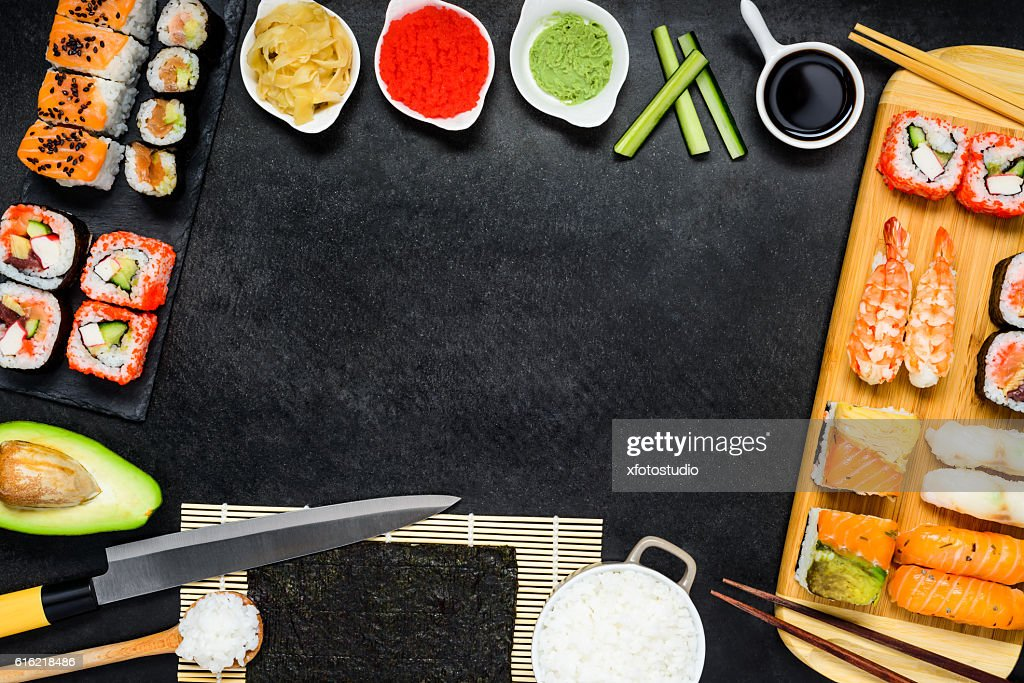 Copy Space Frame with Sushi and Sashimi : Stock Photo