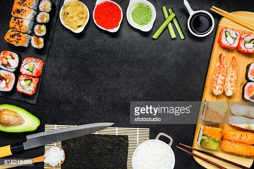 Copy Space Frame with Sushi and Sashimi : Stockfoto